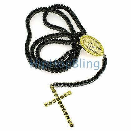 Black and Yellow Tennis Bling Bling Rosary Necklace