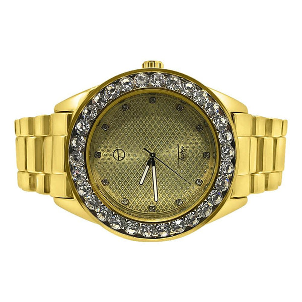 46MM Big Stones Bezel Bling Gold Hip Hop Watch