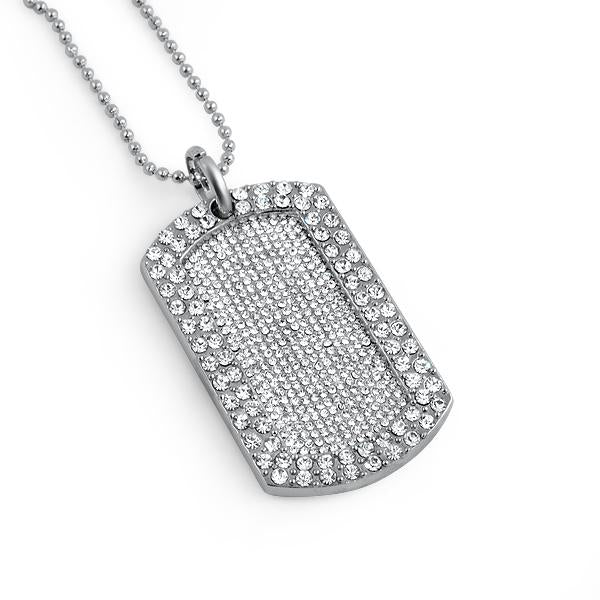 Totally iced Out Blizzard Rhodium Bling Dog Tag & Chain