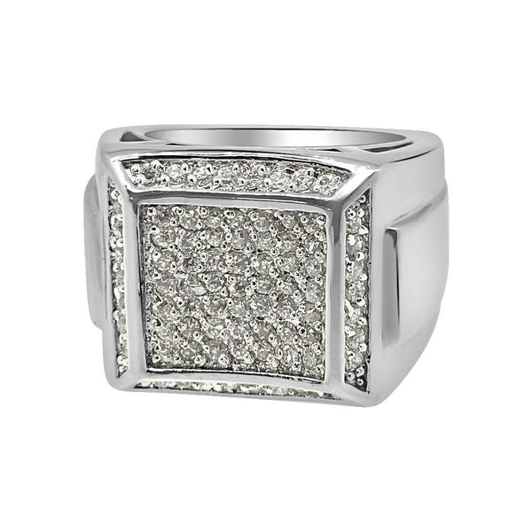 Thick Boxy CZ Micro Pave .925 Sterling Silver Mens Ring