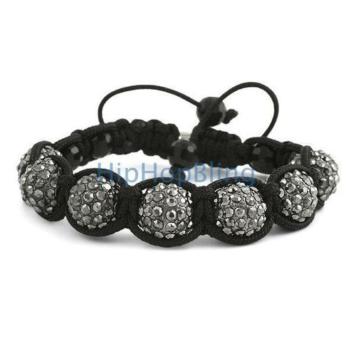 12mm Hematite 7 Ball Bling Bling Disco Ball Bracelet