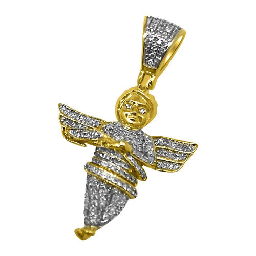 Cherub Angel .32cttw Diamond Hip Hop Pendant 10K Yellow Gold