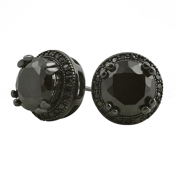 Pave Ice Border Black CZ Solitaire Bling Bling Earrings