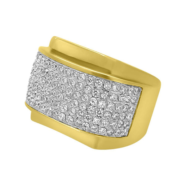 CZ Micro Pave Rounded Gold Stainless Steel Ring