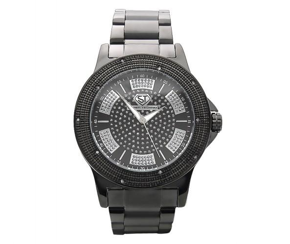 Sporty All Black Metal .10ct Real Diamond Hip Hop Super Techno Watch
