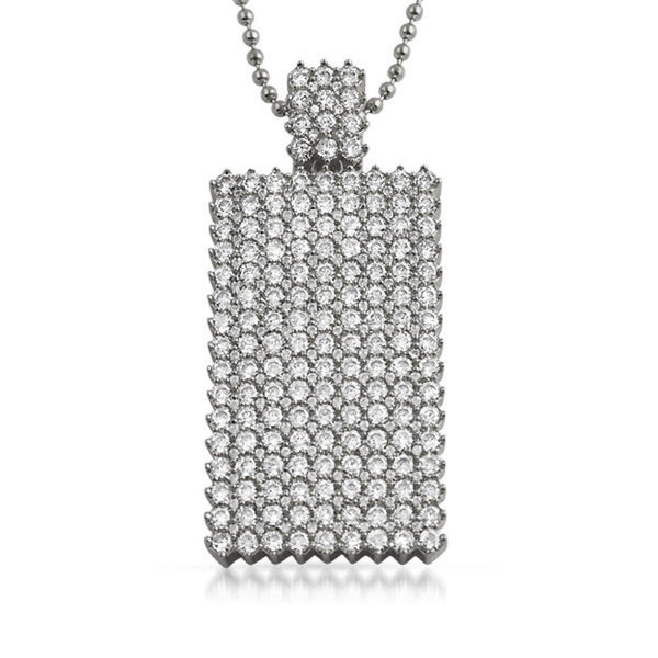 Bling Bling Dog Tag CZ Icey Pendant Rhodium