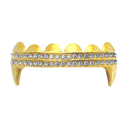 Vampire Fang Double Bling Gold Grillz Top