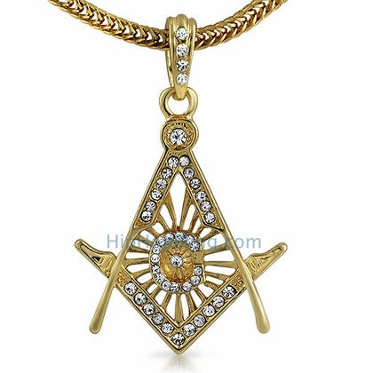 Free Mason Masonic Gold Pendant & Chain Small