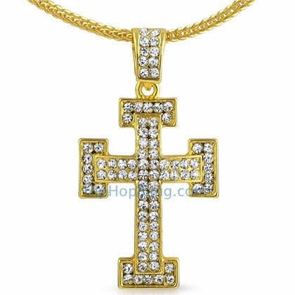 Gold Block Bling Bling Cross & Chain Small