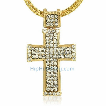 Gold Classic Bling Bling Cross & Chain Small