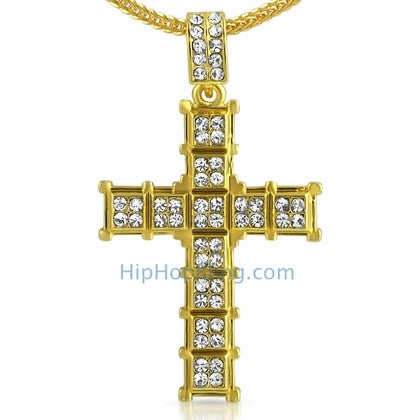 Gold Cube Cross Hip Hop Pendant Chain Small