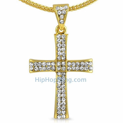 Gold Curl Bling Cross & Chain Small