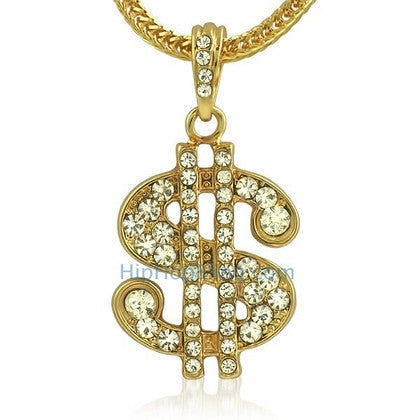 Gold Dollar Sign Bling Bling Pendant & Chain Small