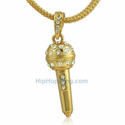 Gold Hip Hop Microphone Pendant & Chain Small