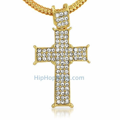 Gold Prong Bling Bling Cross & Chain Small