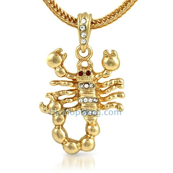 Gold Scorpion Bling Pendant & Chain Small