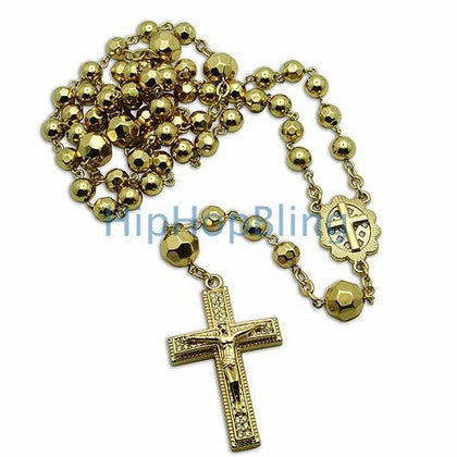 Gold Shiny Crystal Beaded Jesus Cross Rosary Necklace