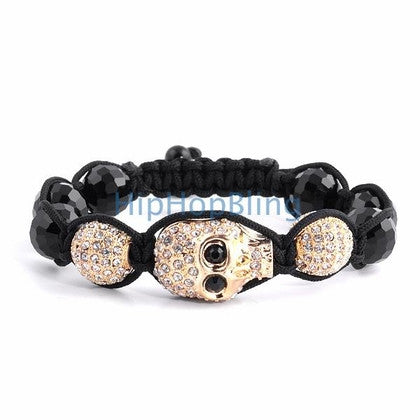 Gold Skull Bling Bling Disco Ball Bracelet
