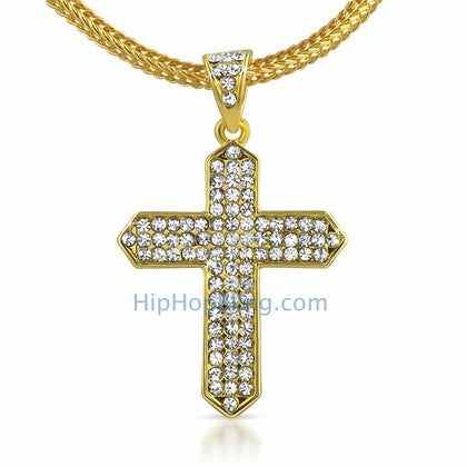 Gold Taper Bling Cross & Chain Small