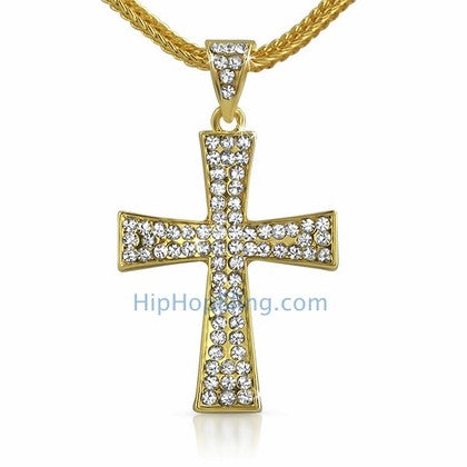 Gold Wing Bling Cross & Chain Small