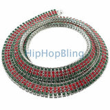 Green & Red 4 Row Bling Chain