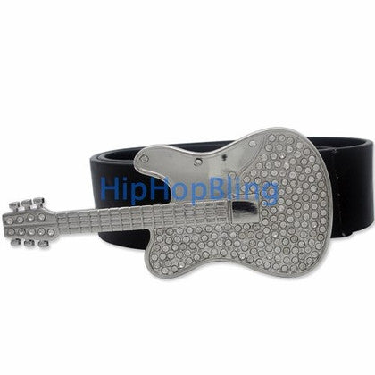 Guitar Music Silver Hip Hop Belt Buckle