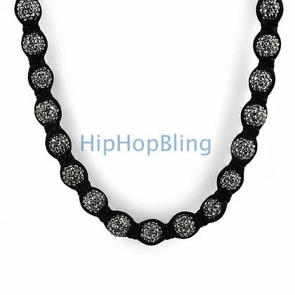 Hematite Black 50 Disco Ball Necklace Bling Bling