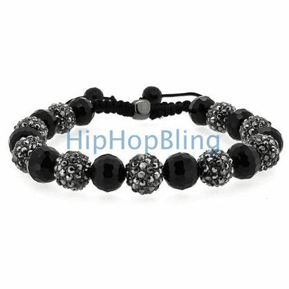 Hip Hop Bracelet Alternating Black Bling Disco Ball