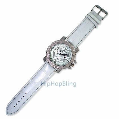 Hip Hop Watch White Leather Band