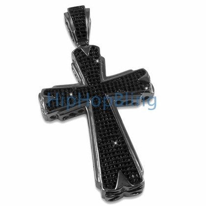 Hot Black Bling Bling Cross CZ Micro Pave Pendant