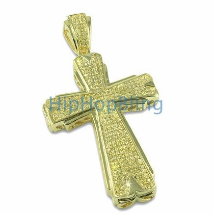 Hot Lemonade Bling Cross Gold CZ Micropave Pendant