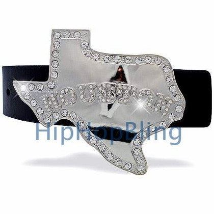 Houston Texas Silver Hip Hop Belt Buckle