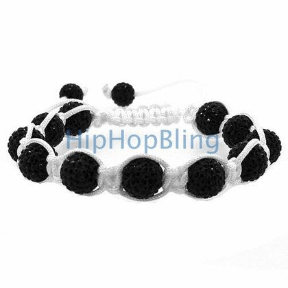 Jet Black 10mm High End Bling Bling Disco Ball Bracelet White Rope