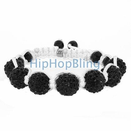 Jet Black 1 Disco Ball Bling Bracelet