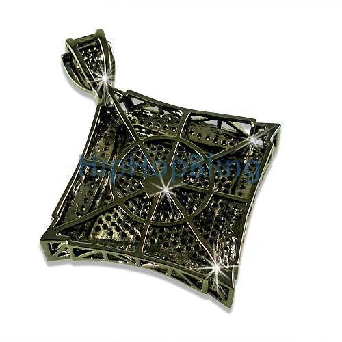 Kite White Black CZ Micro Pave Black Pendant