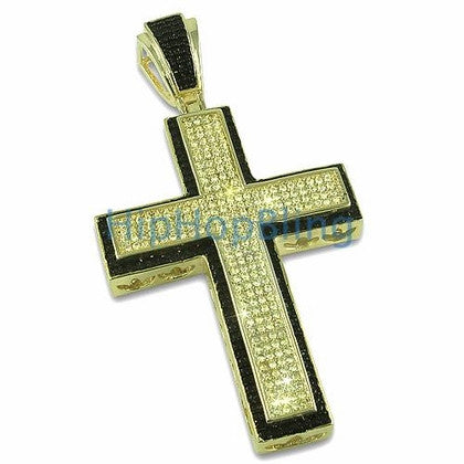 Large Lemonade Black Border Bling CZ Micro Pave Cross