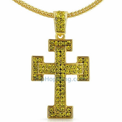 Lemonade Block Bling Bling Cross Chain Small