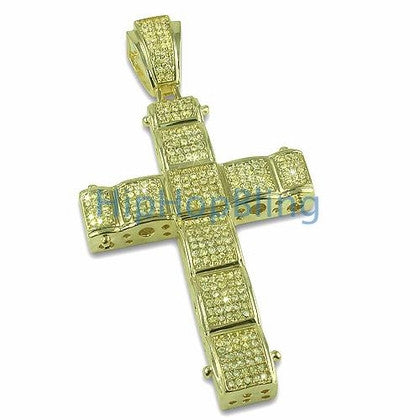 Lemonade Bubble CZ Micro Pave Bling Bling Cross
