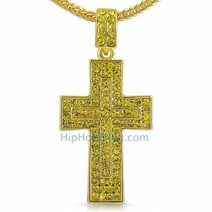 Lemonade Double Decker Hip Hop Cross Chain Small