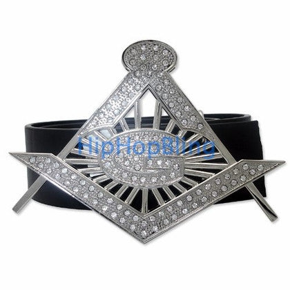 Masonic G Silver Bling Belt Buckle