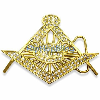 Masonic Gold Bling Bling Belt Buckle