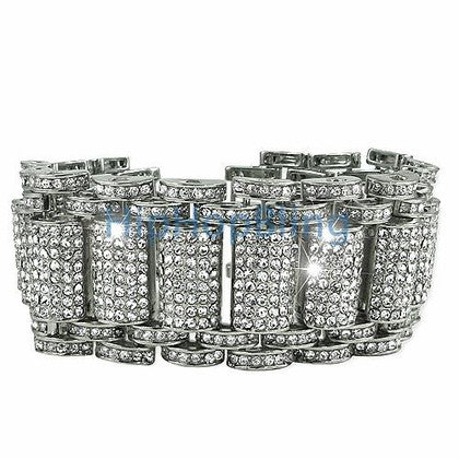 Prong Set CZ Platinum 12 Row Bling Bling Bracelet