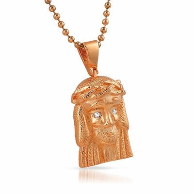 Micro Jesus Clean Rose Gold Pendant