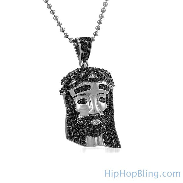 Mini Rhodium Jesus Piece Black CZ Hair