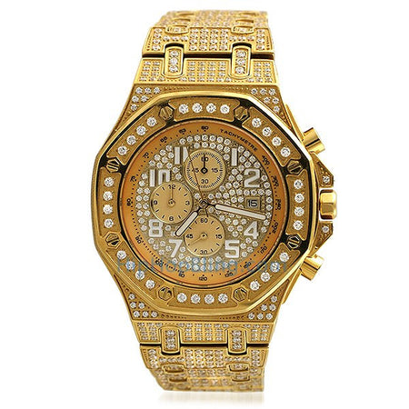 Real Diamond Hip Hop Watch .15cttw Bullseye Gold