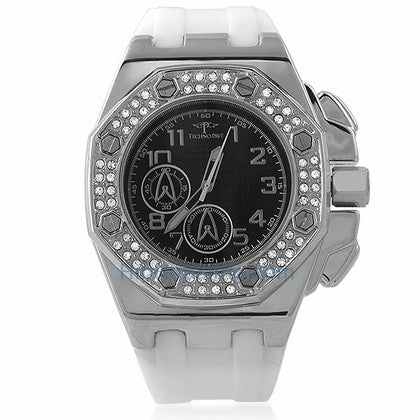 Octagon Silver White Band Bling Bling Watch