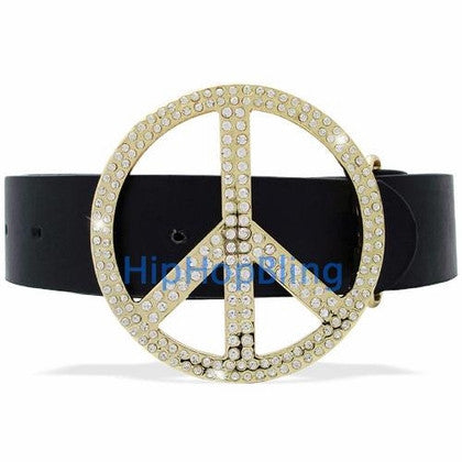Peace Symbol Gold Bling Bling Belt Buckle