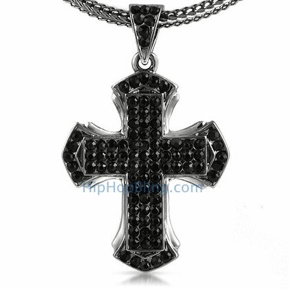 Pointed Black Cross Bling Bling Chain Small