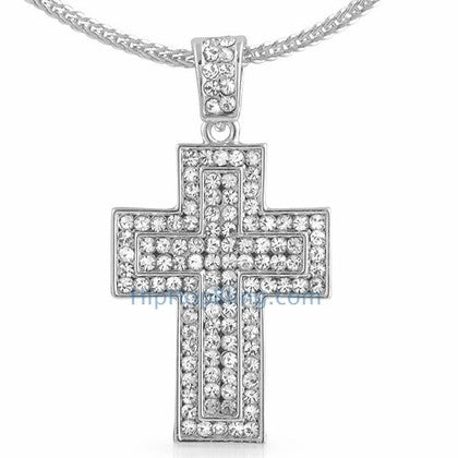 Quad Bling Cross Pendant & Chain Small