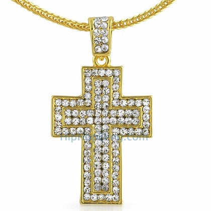 Quad Bling Gold Cross Pendant & Chain Small